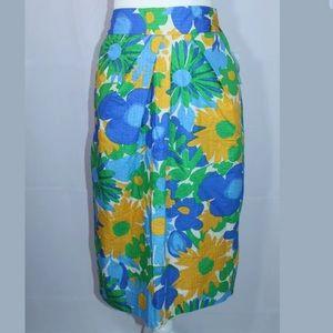 J Crew Bubble Blue, Green, White Floral Skirt
